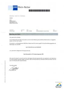 IHK Rhein-Neckar: Berufung zum Prüfer für Fachinformatiker Systemintegration