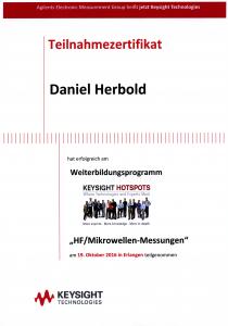 Zertifikat zu Hochfrequenz/Mirkowellen-Messungen